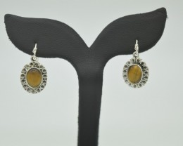 NATURAL UNTREATED TIGER EYE EARRINGS 925 STERLING SILVER JE931