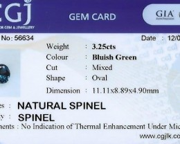 No heat certified natural spinel.