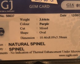 No heat certified natural gem spinel.   Video in shaded light.   Nice open color.   Stand out stone!