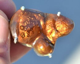 49.52 Carat Very Fine Fire Agate in Sterling Silver Pendant