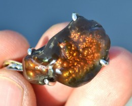 43.09 Carat Very Fine Fire Agate in Sterling Silver Pendant