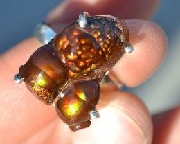 38.70 Carat Fantastic Fire Agate in Sterling Silver Ring