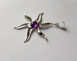 Amethyst 925 Sterling silver pendant #34141