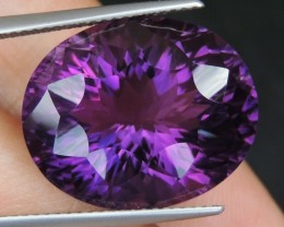 19.20cts, Amethyst,  Top Cut, Clean, Untreated, Concave