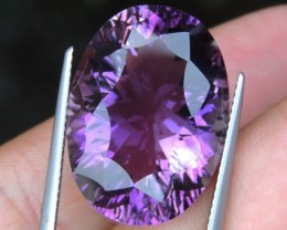 27.12cts, Amethyst,  Top Cut, Clean, Untreated, Concave