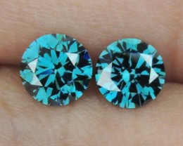 1.11cts, Blue Diamond Pair,   Top Quality,  High End Stones
