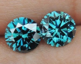 1.28cts,Blue Diamond Pair,   Top Quality,  High End Stones