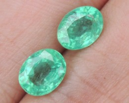 3.28cts Emerald Pair, Bright Green