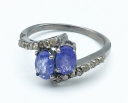 11.45 Crt Diamond and Tanzanite Ring 925 Silver  (R 23)
