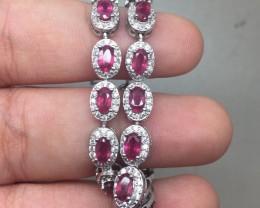 (B5) Gorgeous Nat 69.3tcw  Pink Red Ruby & CZ  Bracelet