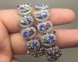 (B5) Precious Nat 146.0tcw. Tanzanite Sapphire & Tourmaline Bracelet