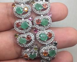 (B5) Luxurious Nat 144.7tcw.  Sapphire & Emerald Bracelet
