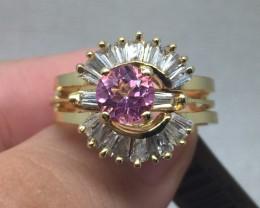 (B5) Superb $1100 Cert. Nat 0.83cts. Pink & Wht Sapphire Ring 14K Y