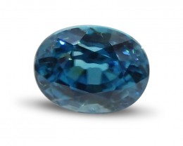 3.41 ct Oval Blue Zircon- $1 NR Auction