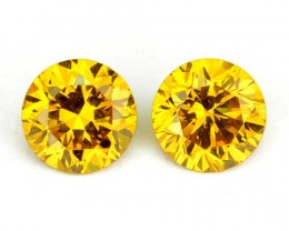 0.19Ct Natural Sparkling Yellow Diamond Round Pair
