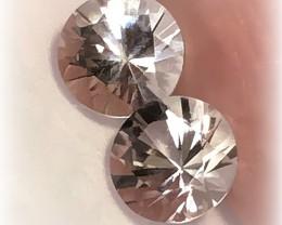 Glittering Silver White Topaz Pair 8.8mm VVS gems - NR