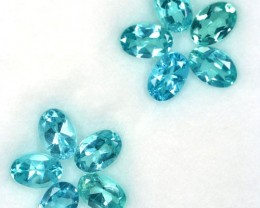 5.18Cts Natural Paraiba Blue Green Apatite 6x4 mm Oval 10 Pcs Parcel