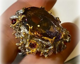Ametrine, Amethyst Rhodolite Ring Size 8 .925 Sterling Silver with 14kt Gol