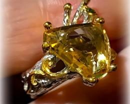 Citrine Chrome Diopside Handmade 14kt Gold over Sterling Silver Ring