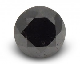 1.39 ct Round Black Diamond - $1 No Reserve Auction