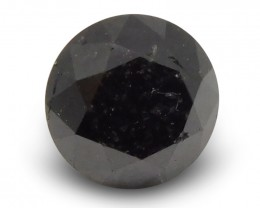 1.66 ct Round Black Diamond - $1 No Reserve Auction
