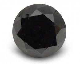 1.32 ct Round Black Diamond - $1 No Reserve Auction