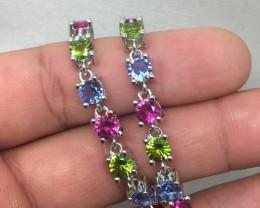 ( B6)Stunning Nat 47.0tcw. Pink Tourmaline Peridot & Tanzanite Bracelet