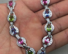 ( B6) Brilliant Nat 72.0tcw. Pink Tourmaline Peridot & Tanzanite Bracel