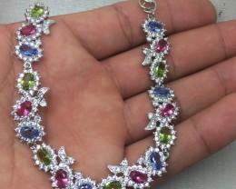 (B6) Beautiful Nat 79.0tcw. Pink Tourmaline Peridot & Tanzanite CZ Brac