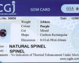 Certified no heat treatment natural spinel.
