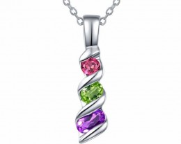 Mixed Gemstone Pendant And Chain - 925 Silver