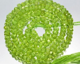 42.51 Cts Natural Peridot Beads Roundel Pakistan (34.5 Cm Length & 4.0