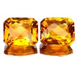 ~PAIR~ 8.99 Cts Natural Golden Orange Citrine Checkerboard Cut Brazil
