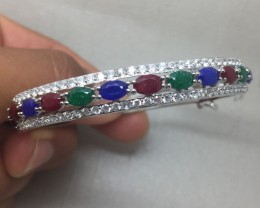 (B1) Deluxe Nat 75.0tcw. Emerald Sapphire & Red Ruby Bangle