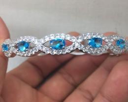 (B1) Stunning Nat 48tcw. Swiss Blue Topaz Wht CZ  Bangle