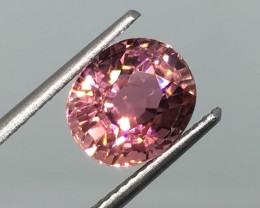 3.56 Carat VVS Tourmaline Peachy Pink Certified - Super Flash and Sparkle !