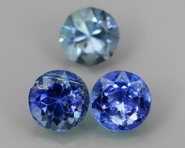1.50 CTS AWESOME NICE 5MM MIXED ROUND 3 PCS BLUE NATURAL TANZANITE FACET~