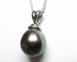Tahitian Black Pearl 10.5mm 18k White Gold Pendant