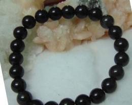 Bracelet  black tour  deep black beads  87.05cts