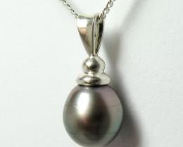 10mm - Tahitian Black  Pearl Silver Pendant