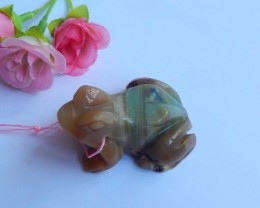 231ct Natural Carved  amazonite frog  pendant bead (18091157)