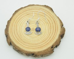NATURAL UNTREATED LAPIS LAZULI EARRINGS 925 STERLING SILVER JE942
