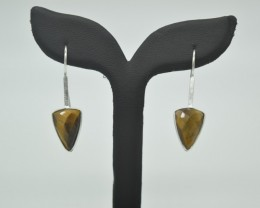 NATURAL UNTREATED TIGER EYE EARRINGS 925 STERLING SILVER JE950