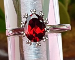 Untreated Garnet in Silver Ring,  Untreated