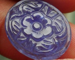 13.50 CRT TANZANITE FLORAL CARVING BEAUTY COLOR-