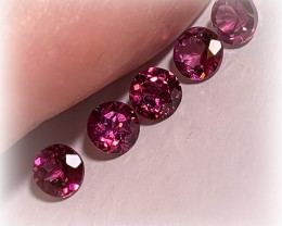 5 Stunning Pink Rhodolite Garnets 4.5mm Parcel Jewellery grade gems