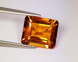 4.93 ct Excellent Gem Golden Whiskey Emerald Cut Natural Citrine
