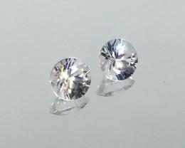2.28 Carat Zircon Diamond White Matched Pair - Calibrated - Quality Flash !