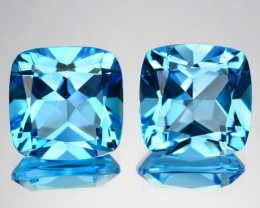 ~PAIR~ 7.91 Cts Natural Sky Blue Topaz 9.0 mm Cushion Cut Brazil