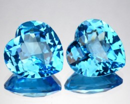 ~PAIR~ 8.05 Cts Natural Sky Blue Topaz 10 mm Heart Checkerboard Brazil